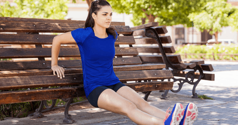bench dips or triceps dips, home fitness workout tips and exercises