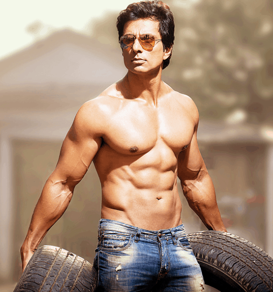 Sonu sood body building biceps size