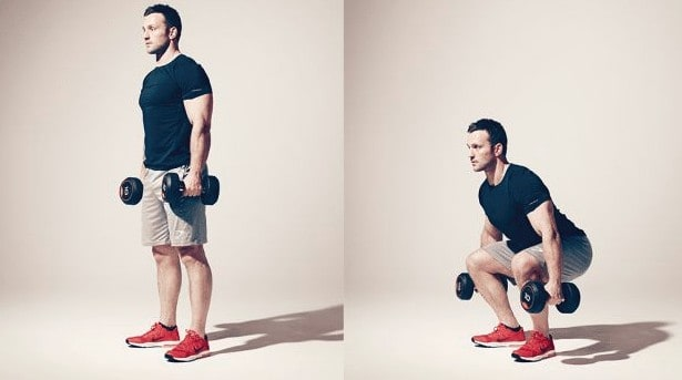 dumbell squats position