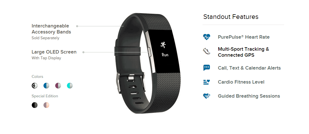 fitness watch fitbit charge 2 multiple features