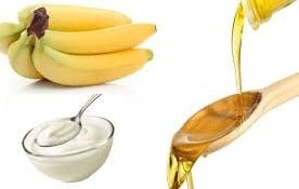home-made products: banana yogurt hair mask