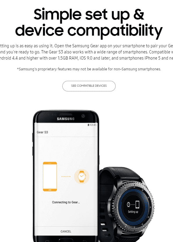 easy compatible smart watch samsung gear s3