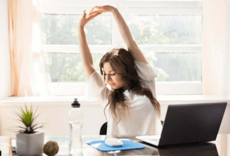overhead office desk stretching