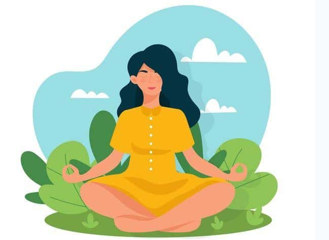 sukhasana or yoga sitting pose