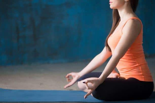 Easy sitting yoga meditation pose