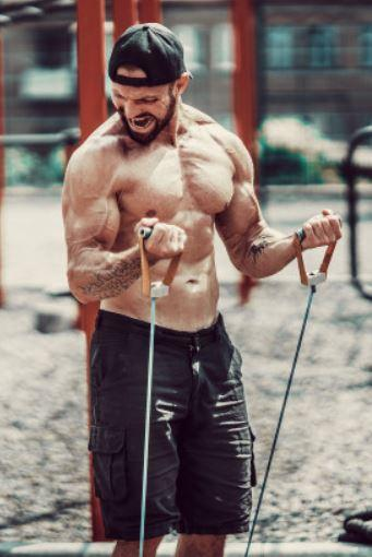 Standing Resistance Band Hammer Curl